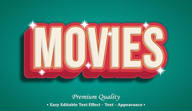 Efeito de estilo de texto editável em 3d de filmes