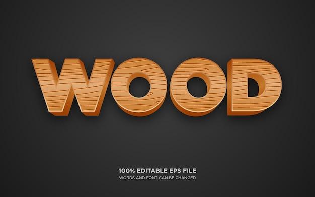 Efeito de estilo de texto editável em 3d de madeira