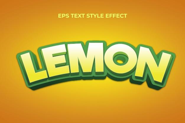 Efeito de estilo de texto editável em 3d verde-limão fresco
