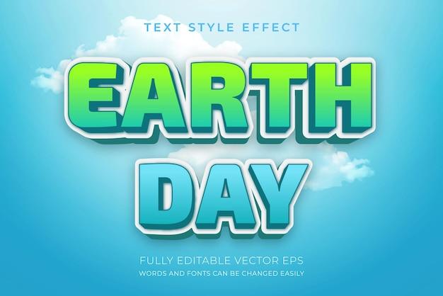 Efeito de estilo de texto editável em azul natural do dia da terra