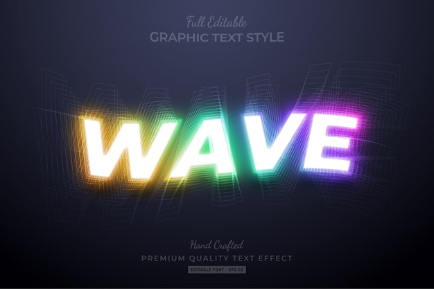 Efeito de estilo de texto editável em gradiente de onda neon