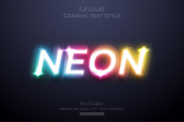 Efeito de estilo de texto editável em gradiente neon