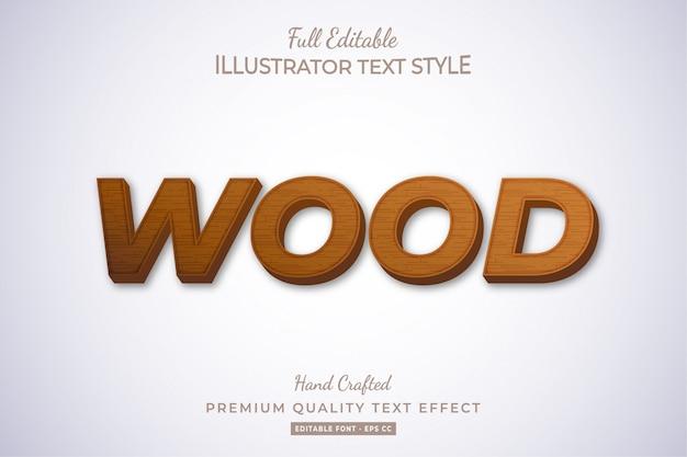 Efeito de estilo de texto editável em madeira premium