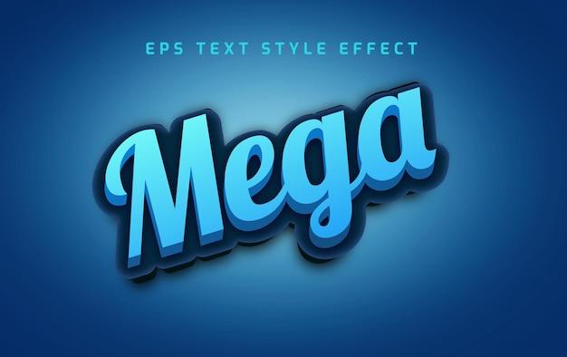 Efeito de estilo de texto editável em negrito mega azul em 3d