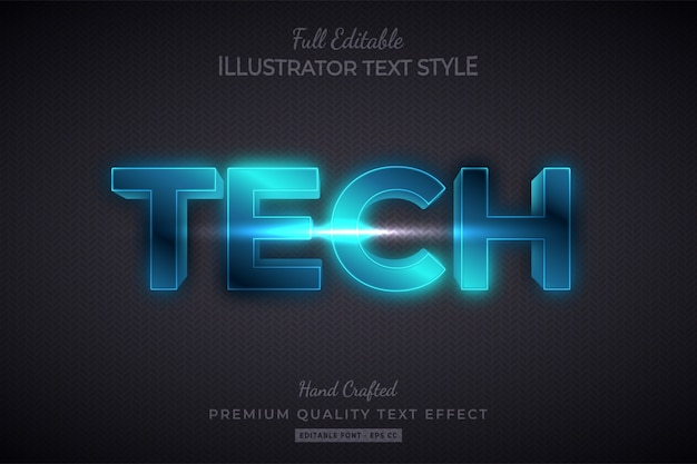Efeito de estilo de texto editável em tecnologia 3d premium