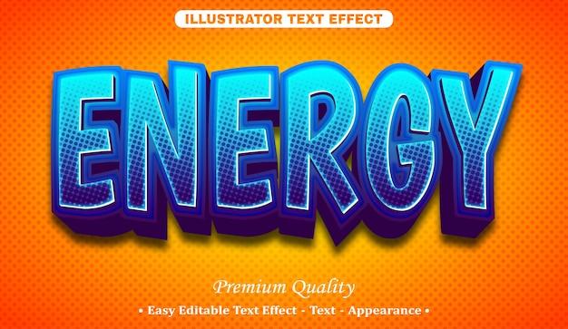 Efeito de estilo de texto editável energy 3d