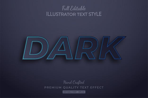 Efeito de estilo de texto editável escuro premium