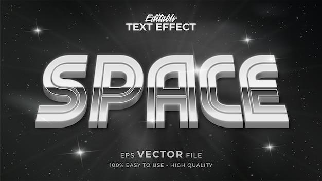 Efeito de estilo de texto editável - espaço retro com tema de estilo de texto prateado