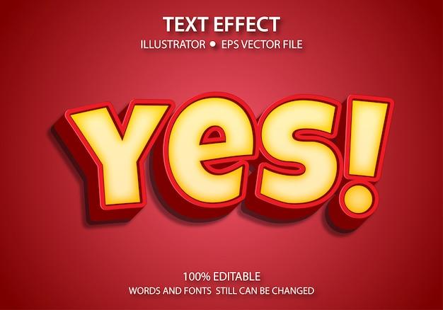 Efeito de estilo de texto editável fofo sim
