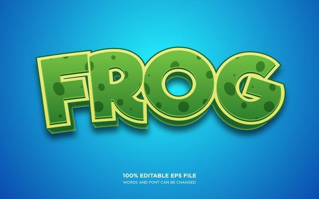 Efeito de estilo de texto editável frog 3d