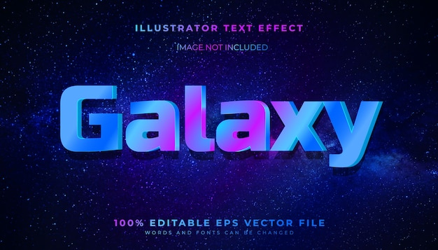 Efeito de estilo de texto editável galaxy 3d