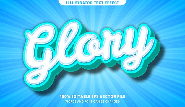 Efeito de estilo de texto editável glory 3d