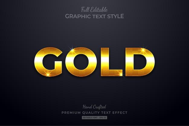 Efeito de estilo de texto editável gold glow
