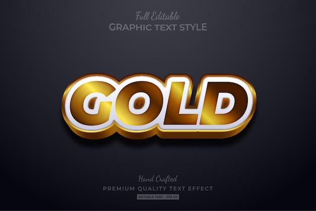 Efeito de estilo de texto editável gold premium