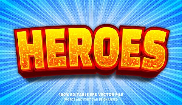 Efeito de estilo de texto editável heroes 3d
