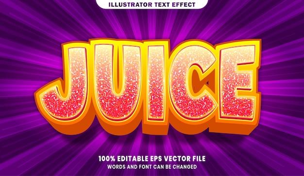 Efeito de estilo de texto editável juice 3d