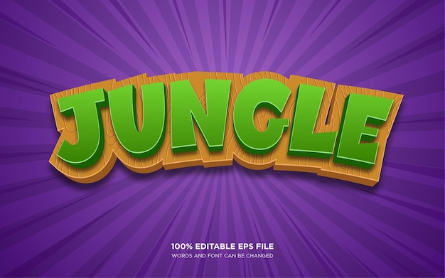 Efeito de estilo de texto editável jungle 3d
