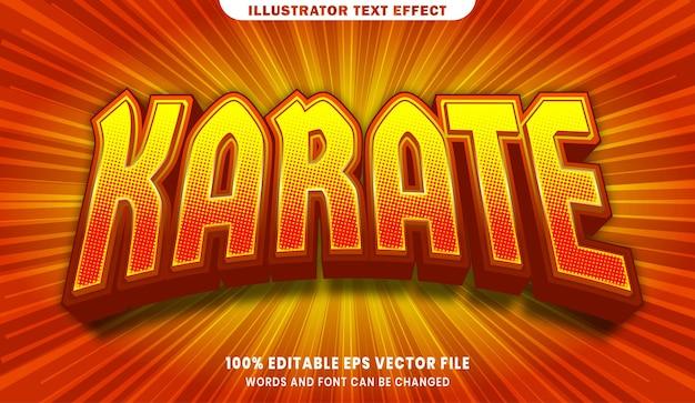 Efeito de estilo de texto editável karate 3d