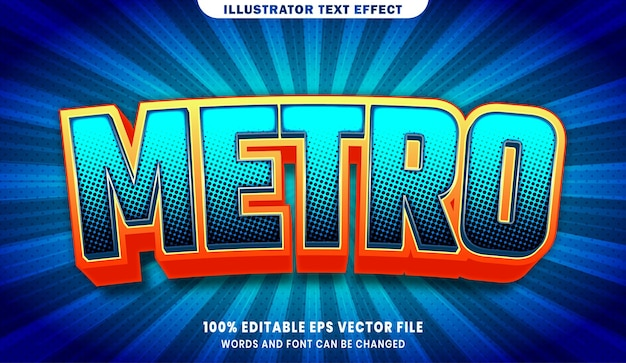 Efeito de estilo de texto editável metro 3d