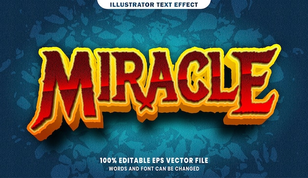 Efeito de estilo de texto editável milagre 3d