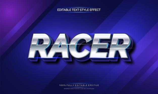 Efeito de estilo de texto editável moderno com cromo brilhante e cor azul.