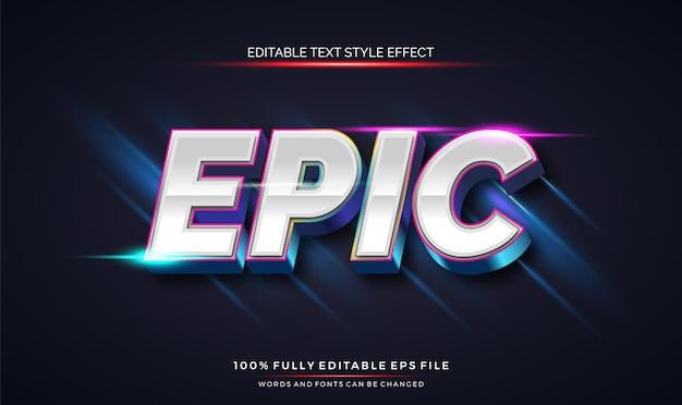 Efeito de estilo de texto editável moderno com fonte editável em vetor de cores brilhantes e brilhantes