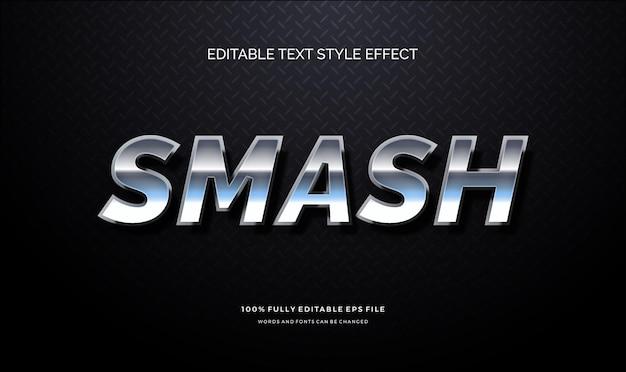 Efeito de estilo de texto editável moderno de texto de reflexão do chrome
