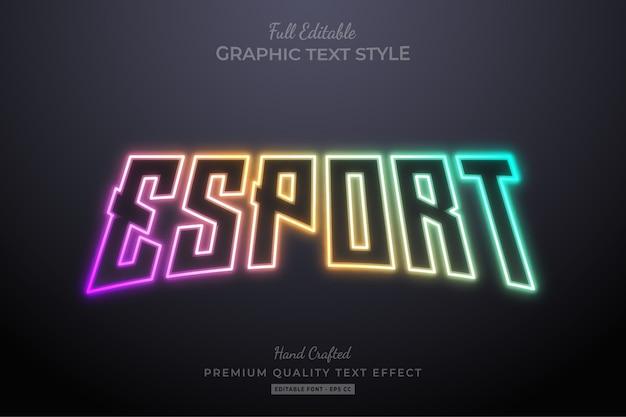 Efeito de estilo de texto editável neon esport