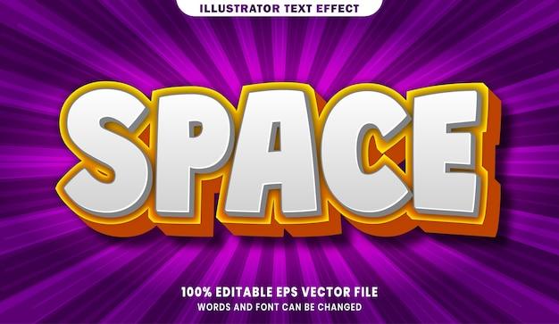 Efeito de estilo de texto editável no espaço