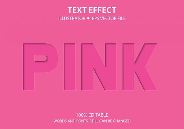 Efeito de estilo de texto editável papel rosa premium