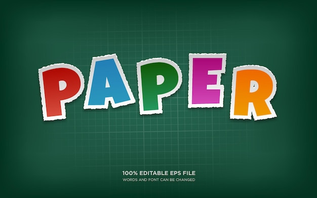 Efeito de estilo de texto editável paper cut