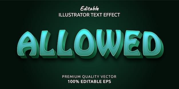 Efeito de estilo de texto editável permitido