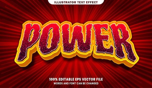 Efeito de estilo de texto editável power 3d