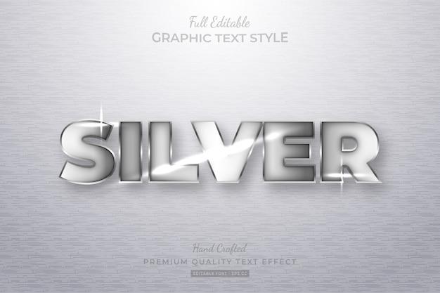 Efeito de estilo de texto editável prata premium