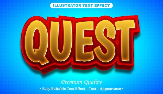 Efeito de estilo de texto editável quest 3d