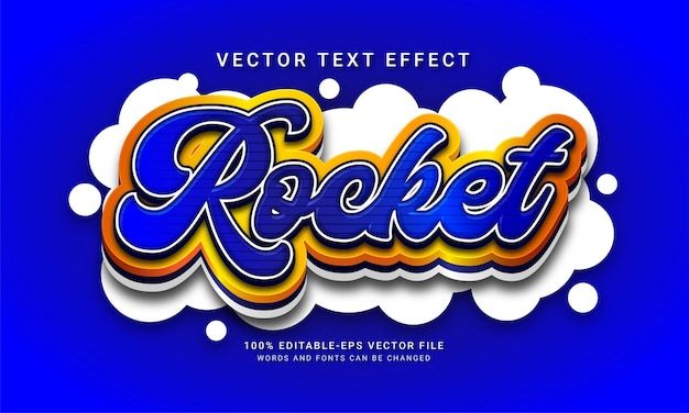 Efeito de estilo de texto editável rocket 3d Vetor Premium