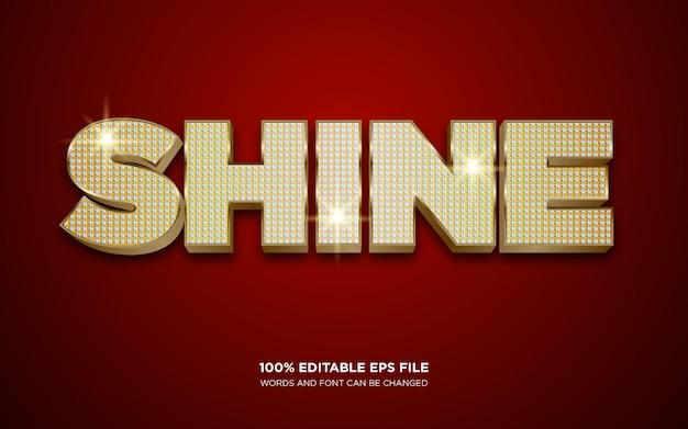 Efeito de estilo de texto editável shine gold