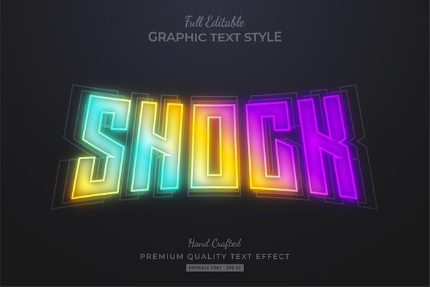 Efeito de estilo de texto editável shock gradient neon