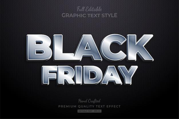 Efeito de estilo de texto editável silver black friday premium