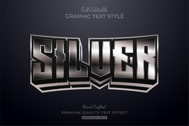 Efeito de estilo de texto editável silver glow