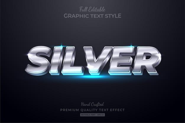 Efeito de estilo de texto editável silver luxury