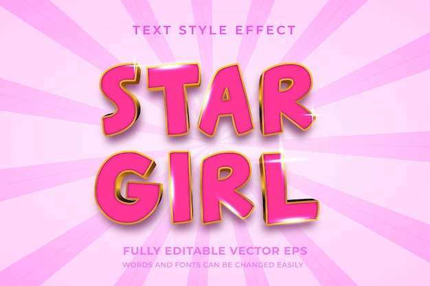 Efeito de estilo de texto editável star girl pink luxury