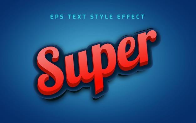 Efeito de estilo de texto editável super vermelho em negrito 3d