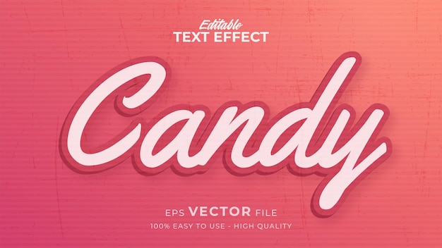 Efeito de estilo de texto editável - tema de estilo de texto candy
