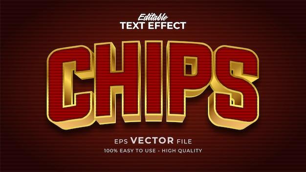 Efeito de estilo de texto editável - tema de estilo de texto chips retro