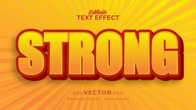 Efeito de estilo de texto editável - tema de estilo de texto cômico forte amarelo