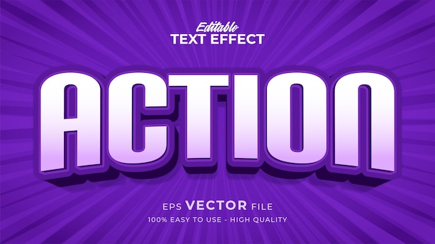Efeito de estilo de texto editável - tema de estilo de texto de ação roxo