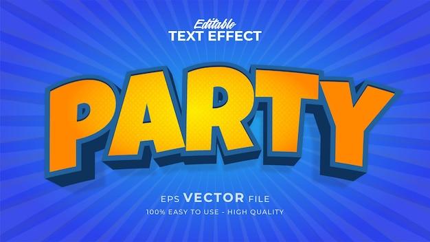 Efeito de estilo de texto editável - tema de estilo de texto de festa