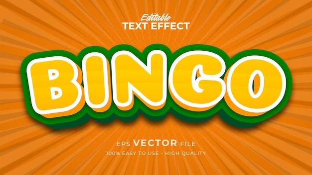 Efeito de estilo de texto editável - tema de estilo de texto de jogo de bingo
