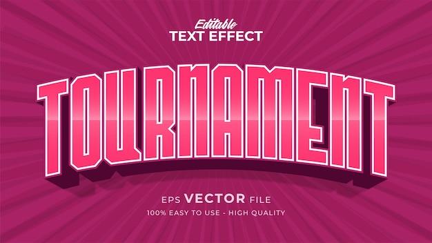 Efeito de estilo de texto editável - tema de estilo de texto de torneio rosa